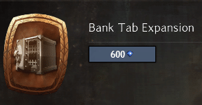 Bank tab expansion from the gem store