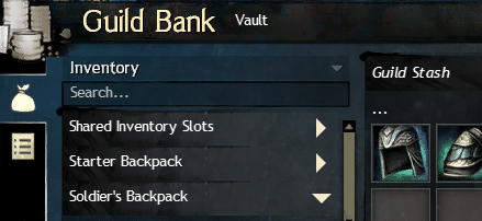Showcase of the guild bank in GW2