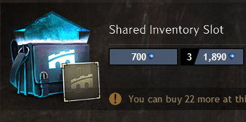 Shared inventory slot on the gem store
