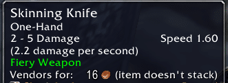 Skinning Knife enchanted with Fiery Weapon